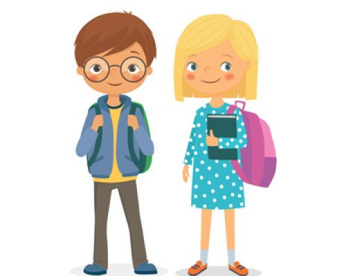 Elementary school pupils. Pupils girls and boys with backpacks and books. Vector illustration